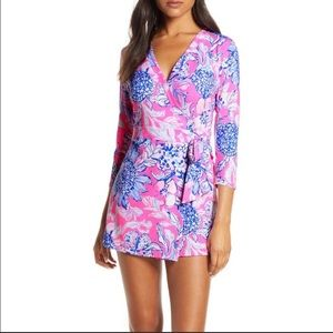 Lilly Pulitzer Karlie wrap Romper Pink NWT Large